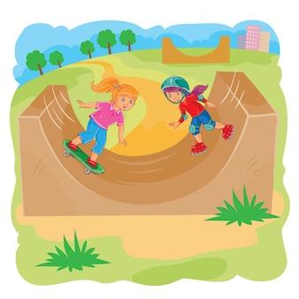 Dwie dziewczynki jeżdżą za pomocą rolki i deskorolki