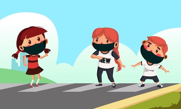 Dwie dziewczyny i jeden chłopak noszą maskę przechodzącą przez krzyż zebry