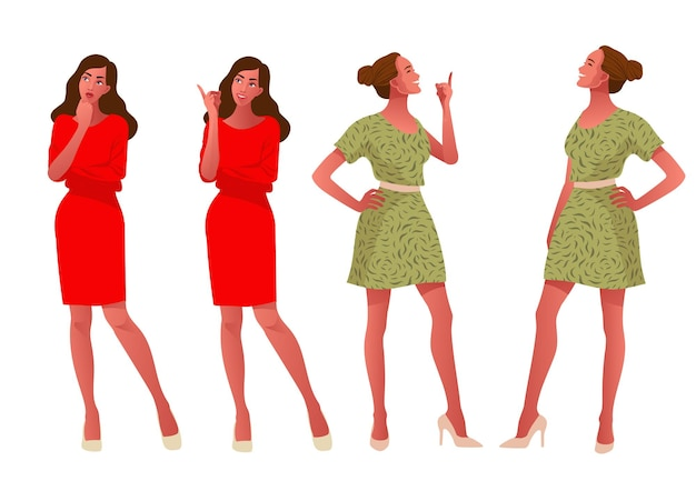 Dwie dziewczyny myślące i szczęśliwe, ciekawa kobieta przesłuchująca, moda strój, płaska ilustracja