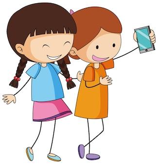 Dwie dziewczyny postać z kreskówki biorąc selfie w ręcznie rysowane stylu doodle na białym tle