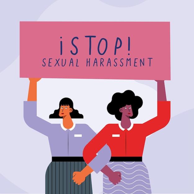 Dwie dziewczyny protestujące przeciwko molestowaniu seksualnemu