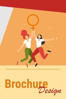 Dwie dziewczyny trzymając symbol żeński. kobiety ze znakiem wenus świętuje płaski wektor dzień kobiety. girl power, empowerment, feminism concept