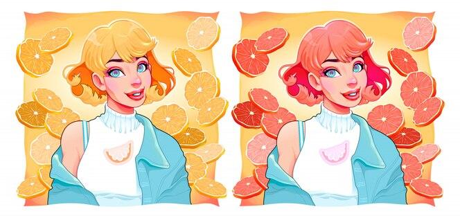 Dwie dziewczyny z plasterkami cytryny i pomarańczy na tła