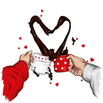 Dwie filiżanki i spray kawy w kształcie serca. ilustracja.