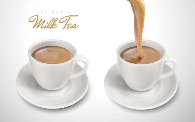 Dwie filiżanki wypełnione mleczną herbatą, jedna wylewa się