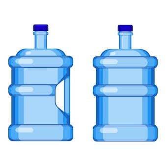 Dwie galonowe butelki na wodę z uchwytem i bez na białym tle. ilustracja wektorowa dużych przezroczystych plastikowych pojemników na ciecz