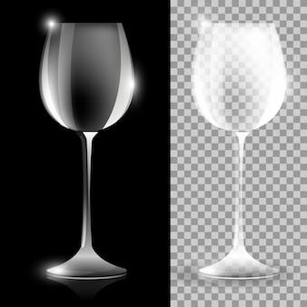 Dwie ilustracje kieliszek do wina na czarnym i jasnym tle