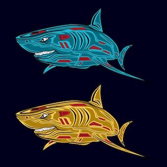 Dwie ilustracje rekinów w różnych kolorach