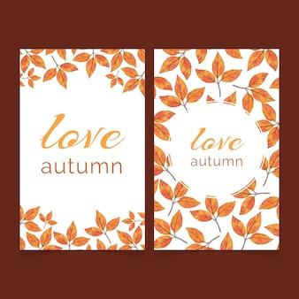 Dwie jesienne karty z jasnymi liśćmi akwarela