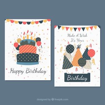 Dwie kartki urodzinowe w płaskiej konstrukcji