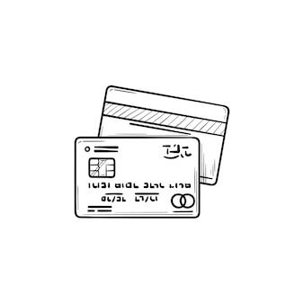 Dwie karty kredytowe banku ręcznie rysowane konspektu doodle ikona. płatności bankowe, biznes i handel, koncepcja handlu detalicznego