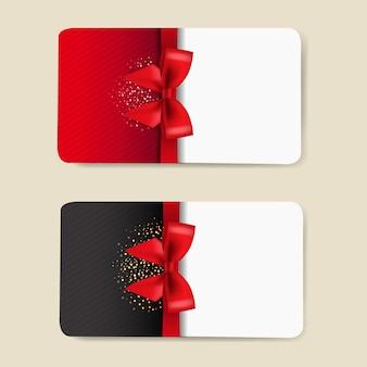 Dwie karty upominkowe zestaw na białym tle