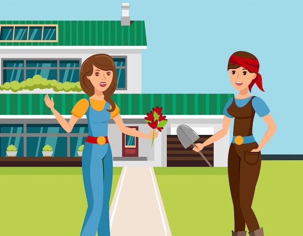 Dwie kobiece sąsiadów mówić ilustracji wektorowych