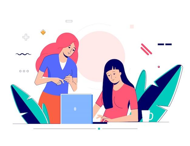 Dwie kobiety komunikują się w biurze.