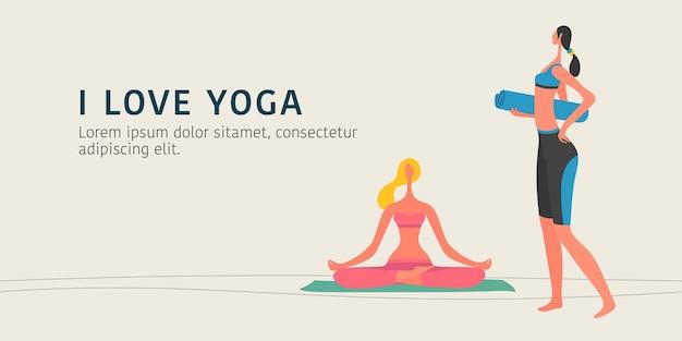 Dwie kobiety robi ilustracja jogi w nowoczesnym stylu graficznym płaski. kobieta siedzi w pozycji lotosu na transparencie maty do jogi
