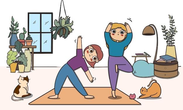Dwie kobiety robi joga, pobyt w domu i koncepcja ćwiczeń.