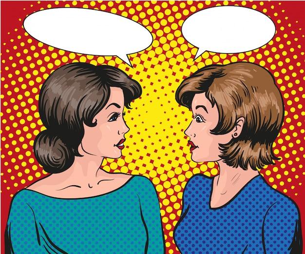Dwie kobiety rozmawiają ze sobą. dymek.