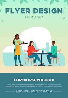 Dwie kobiety siedzą w kawiarni. kelner, obiad, ilustracja wektorowa płaskie rozmowy. koncepcja przyjaźni i relacji