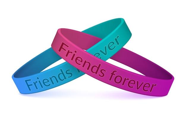 Dwie kolorowe silikonowe opaski na rękę unisex połączone ze sobą bransoletki realistyczny obraz zbliżenia z przyjaciółmi na zawsze ilustracja oświadczenia