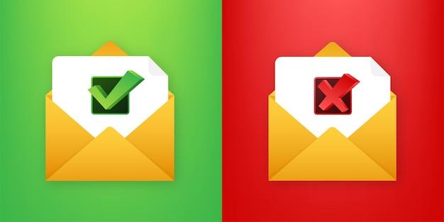 Dwie koperty z listami zaakceptowanymi i odrzuconymi. ikona poczty. ilustracja wektorowa
