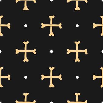 Dwie kości w postaci krzyża bez szwu kreskówka ręcznie rysowane wektor wzór