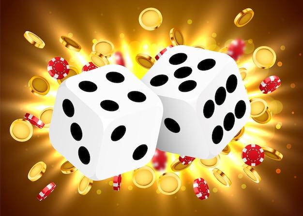 Dwie kostki, otoczone świetlistą ramą i eksplozją monety. sztandar szczęścia. kasyno