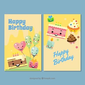 Dwie ładne kartki urodzinowe wyciągnąć rękę