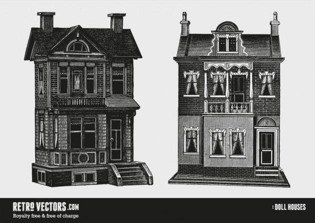 Dwie lalki domów   darmowe wektory retro