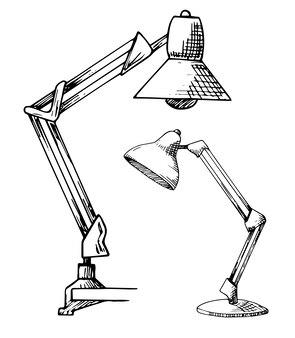 Dwie lampki do czytania na białym tle. ilustracja w stylu szkicu.