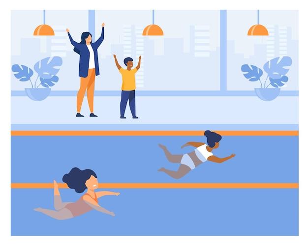 Dwie małe dziewczynki biorące udział w zawodach pływackich. strój kąpielowy, basen, płaska ilustracja wody. koncepcja działalności sportowej i konkurencji