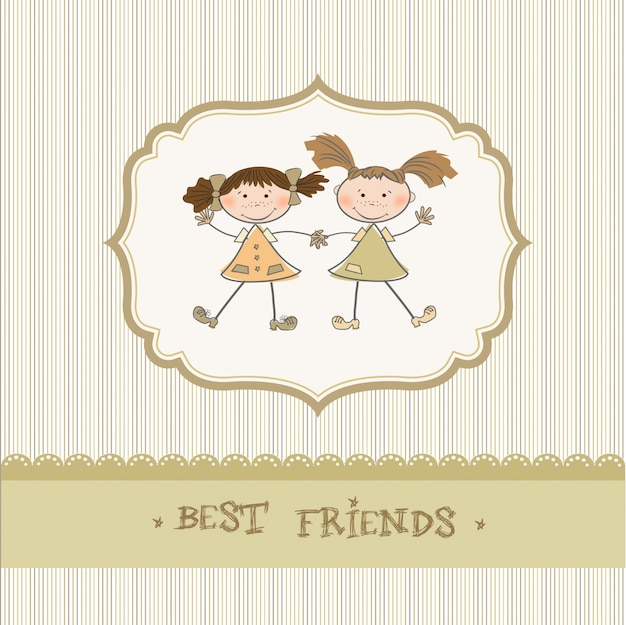 Dwie małe dziewczynki, najlepsi przyjaciele