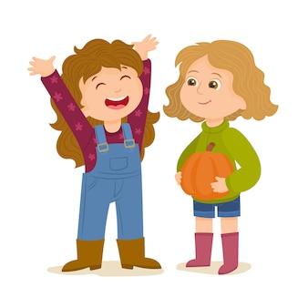 Dwie małe dziewczynki uprawiają ziemię