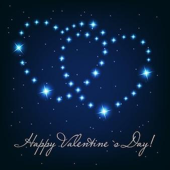 Dwie miłości serca z pięknych jasnych gwiazd na tle