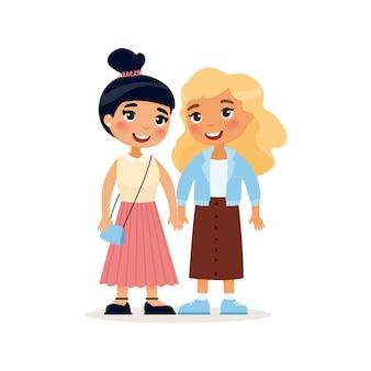 Dwie młode dziewczyny lub para lesbijek, trzymając się za ręce. postać z kreskówki śmieszne ilustracja. pojedynczo na białym tle