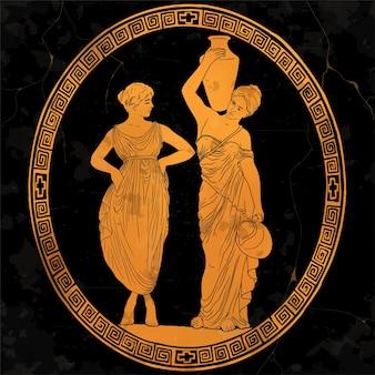 Dwie młode, piękne greckie kobiety niosą wodę w dzbanach. rysowanie na antycznych naczyniach
