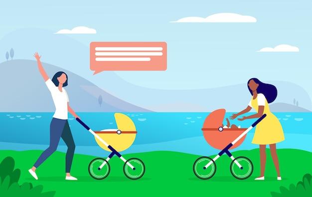 Dwie nowe mamy spacerujące razem. kobieta z wózkami spotykającymi się i machająca witam płaska ilustracja.