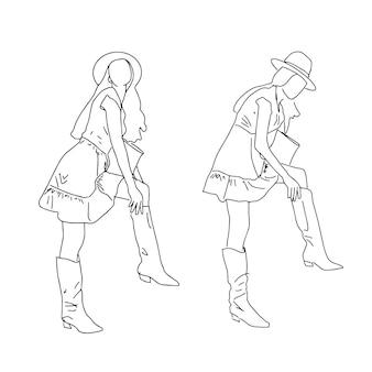 Dwie nowoczesne dziewczyny w różnych pozach zakładające buty. ilustracja.