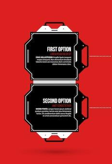 Dwie opcje z elementami hi-tech w kolorze czarnym i czerwonym