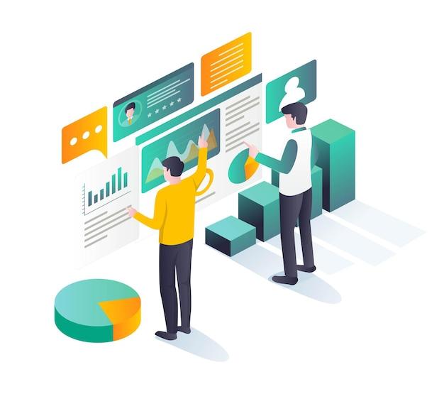 Dwie osoby analizujące dane firmy na ilustracji izometrycznej