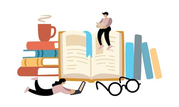 Dwie osoby czytają książki mężczyzna i kobieta uczą się
