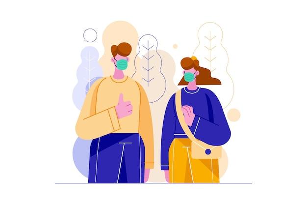 Dwie osoby noszące maskę podczas ilustracji wektorowych pandemii