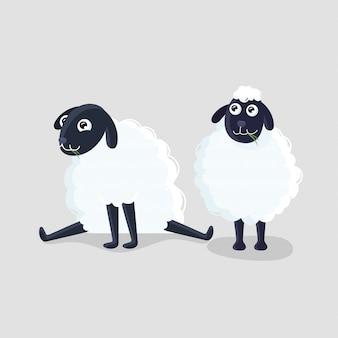 Dwie owce z kreskówek w różnych pozach na szarym tle.