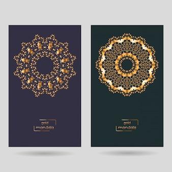 Dwie ozdobne karty z mandalą.