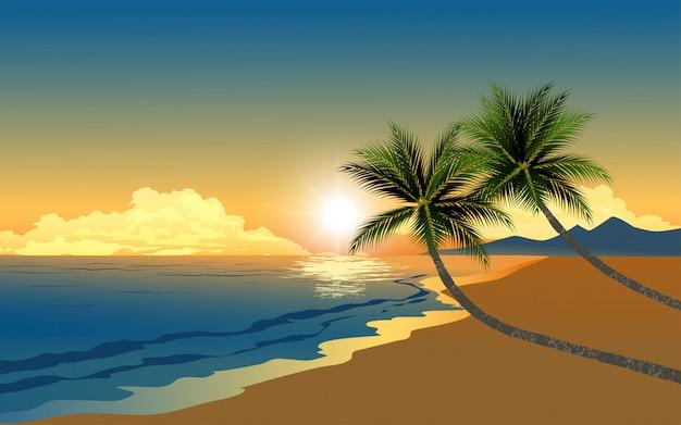 Dwie palmy na plaży o zachodzie słońca