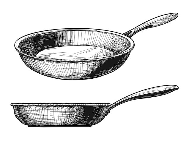 Dwie patelnie na białym tle. ilustracja