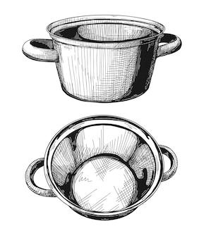 Dwie patelnie na białym tle. ilustracja.