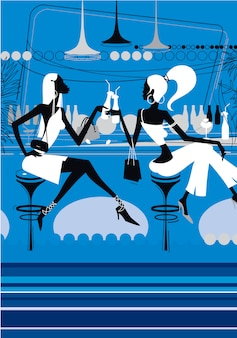 Dwie piękne dziewczyny piją koktajle w prawie klubie.