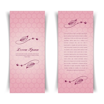 Dwie pionowe rocznika różowa karta z kwiatowymi elementami