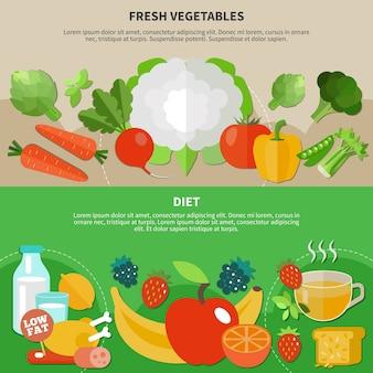 Dwie płaskie kompozycje zdrowego odżywiania z opisem diety i świeżych warzyw