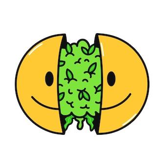 Dwie połówki uśmiechniętej twarzy z pąkami konopi w środku